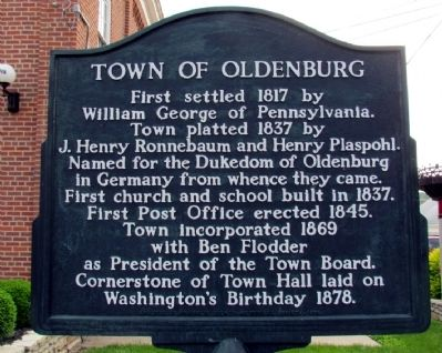 Town of Oldenburg Marker image. Click for full size.