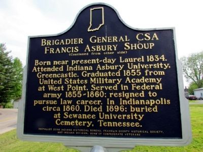 Brigadier General CSA Francis Asbury Shoup Marker (Back) image. Click for full size.
