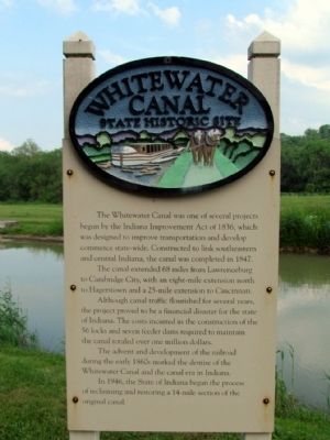 Whitewater Canal State Historic Site Marker image. Click for full size.