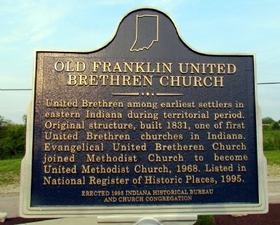 Old Franklin United Brethren Church Marker image. Click for full size.