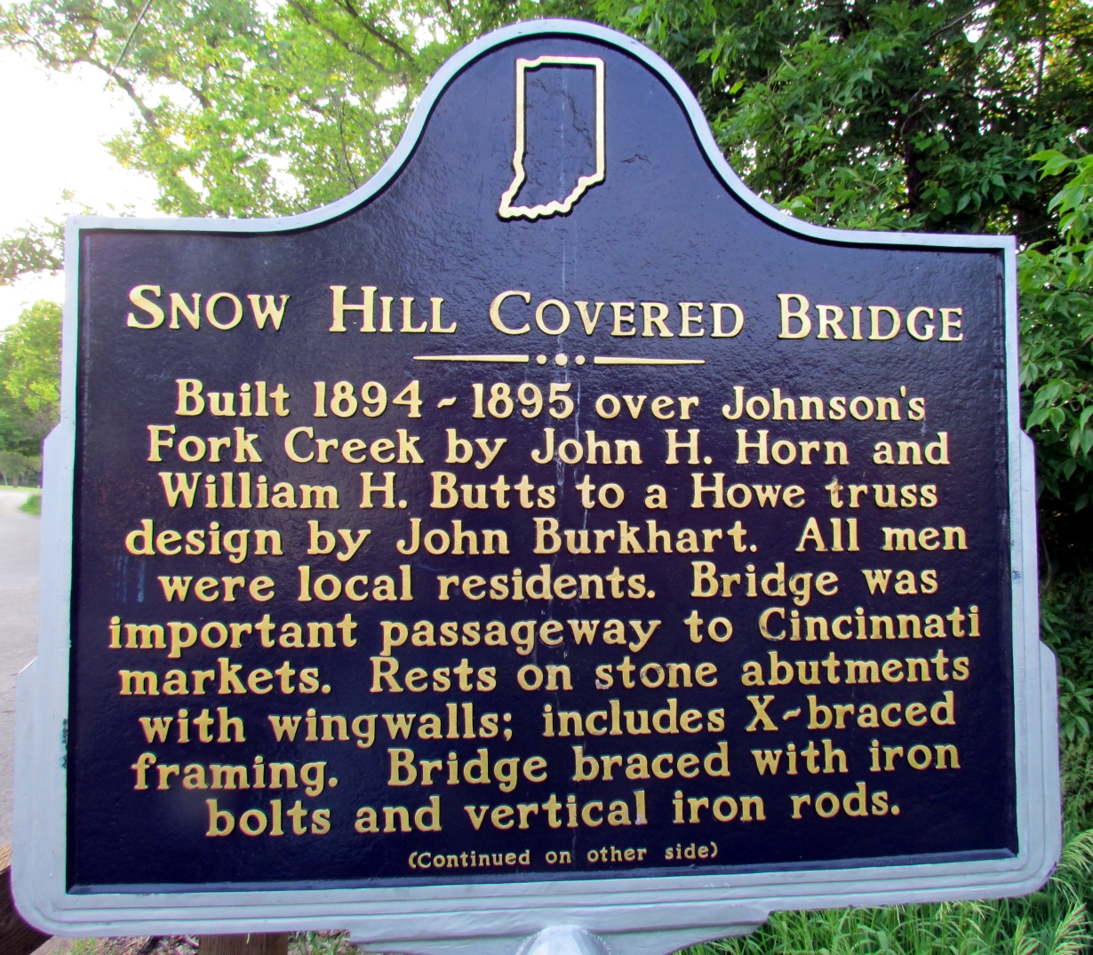Snow Hill Covered Bridge Marker (Front)