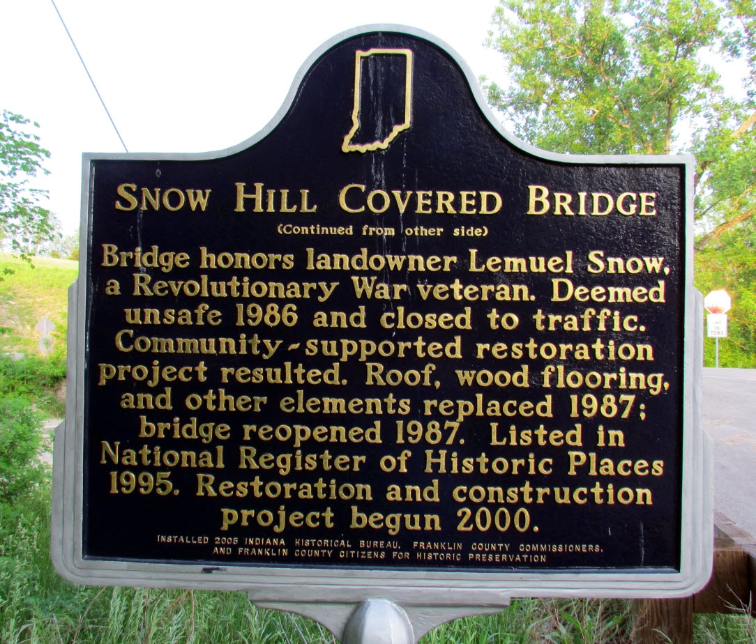 Snow Hill Covered Bridge Marker (Back)