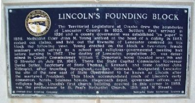 Lincoln's Founding Block Marker image. Click for full size.