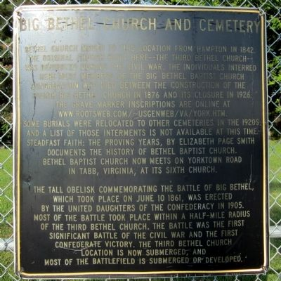 Big Bethel Church and Cemetery Marker image. Click for full size.