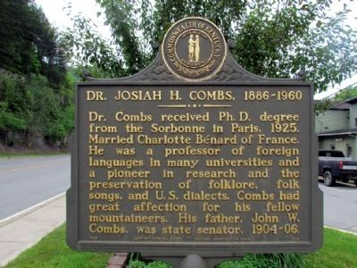 Dr. Josiah H. Combs, 1886-1960 Marker image. Click for full size.