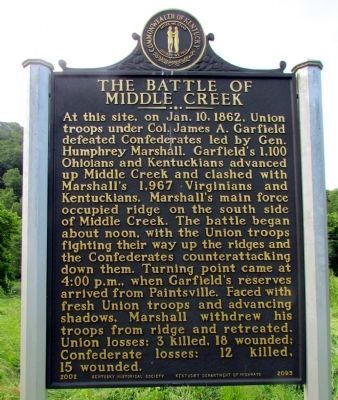 The Battle of Middle Creek Marker image. Click for full size.