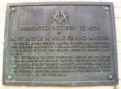 Pioneer Masons of Nebraska Territory Marker image. Click for full size.