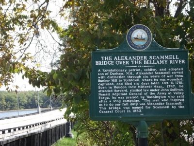 The Alexander Scammell Bridge over the Bellamy River Marker image. Click for full size.