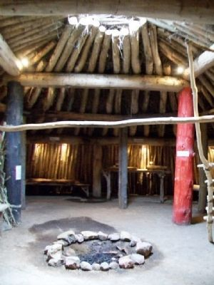 Interior of Earth Lodge Replica image. Click for full size.