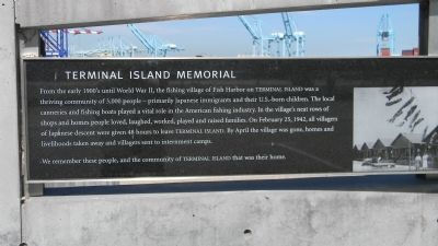 Terminal Island Japanese Memorial: <i>Panel 1</i> image. Click for full size.