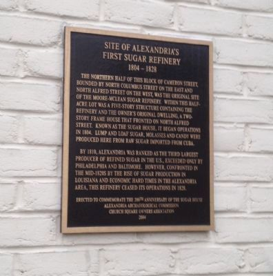 Site of Alexandria's First Sugar Refinery Marker image. Click for full size.