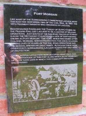 Fort Morgan Marker on Laclede Monument image. Click for full size.