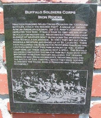 Buffalo Soldier Corps Marker on Laclede Monument image. Click for full size.