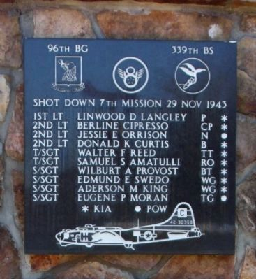 Shot Down 7th Mission 29 Nov 1943 Marker image. Click for full size.