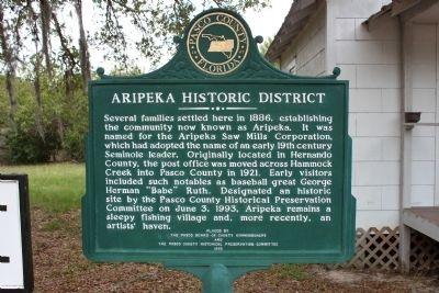 Aripeka Historic District Marker image. Click for full size.