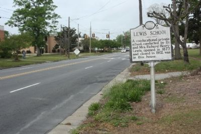 Lewis School Marker looking west along NC 11/55 (East King Street) image. Click for full size.