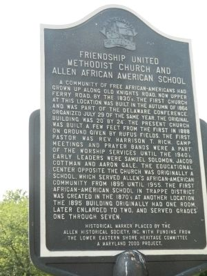 Friendship United Methodist Church and Allen African American School Marker image. Click for full size.
