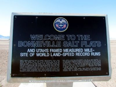 Welcome to the Bonneville Salt Flats Marker image. Click for full size.