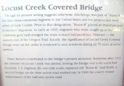 Locust Creek Covered Bridge Marker Detail image. Click for full size.