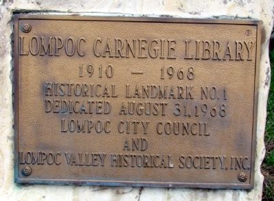 Lompoc Carnegie Library Marker image. Click for full size.