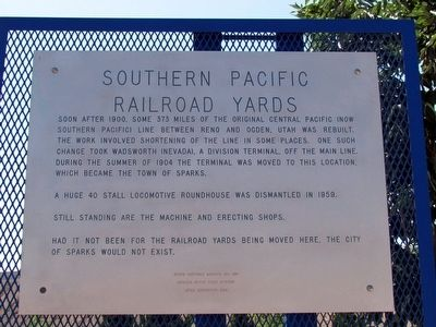 Original Southern Pacific Railroad Yards Marker image. Click for full size.
