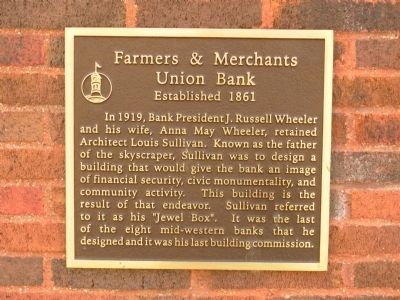 Farmers and Merchants Union Bank Marker image. Click for full size.