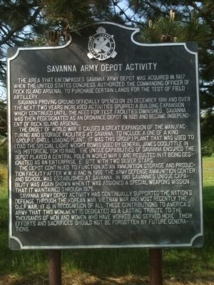 Savanna Army Depot Activity Marker image. Click for full size.