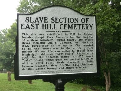 Slave Section of East Hill Cemetery Marker image. Click for full size.