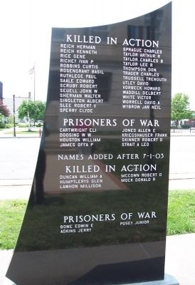 Veterans Memorial Honored Dead & POW image. Click for full size.