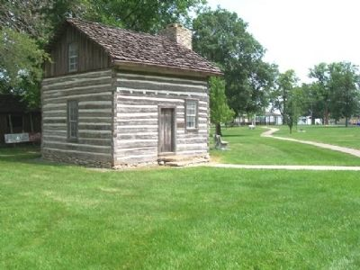 Harris Log House and Marker image. Click for full size.
