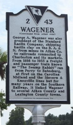 Wagener Marker, reverse side image. Click for full size.