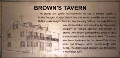 Brown's Tavern Plaque image. Click for full size.