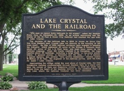 Lake Crystal and the Railroad Marker image. Click for full size.
