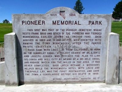 Pioneer Memorial Park Marker image. Click for full size.