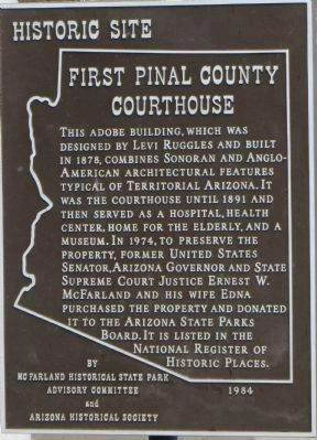 First Pinal County Courthouse Marker image. Click for full size.