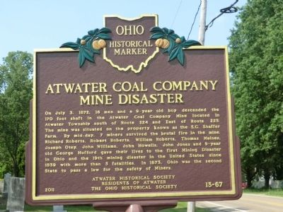 Atwater Coal Company Mine Disaster Marker image. Click for full size.