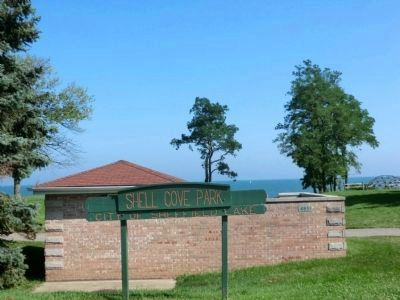 Sign for Shell Cove Park, the location of the marker image. Click for full size.