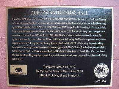 Auburn Native Sons Hall Marker image. Click for full size.
