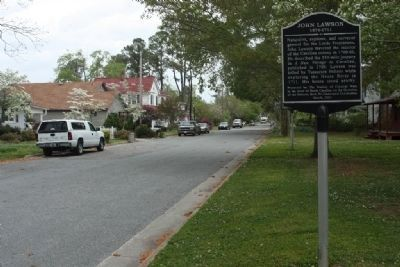 John Lawson Marker looking north on South Main Street image. Click for full size.