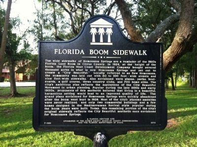 Florida Boom Sidewalk Marker image. Click for full size.