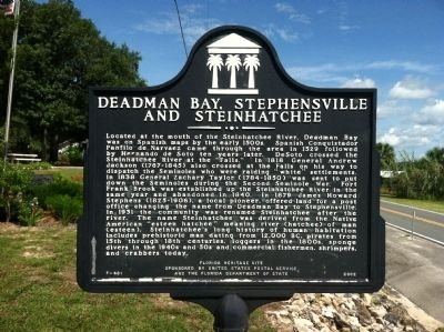 Deadman Bay, Stephensville and Steinhatchee Marker image. Click for full size.