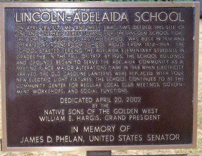 Lincoln-Adelaida School Marker image. Click for full size.