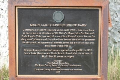 Moon Lake Gardens Stone Barn Marker image. Click for full size.