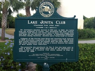 Lake Jovita Club Marker-Side 2 image. Click for full size.