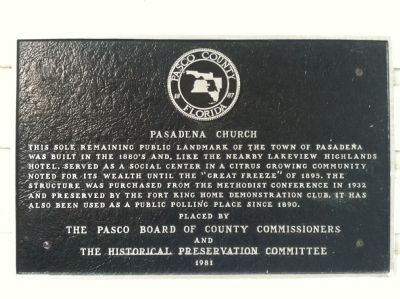 Pasadena Church Marker image. Click for full size.