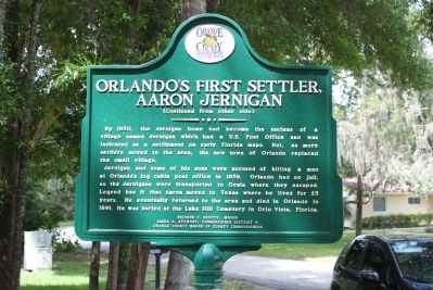 Orlando's First Settler, Aaron Jernigan Marker-Side 2 image. Click for full size.