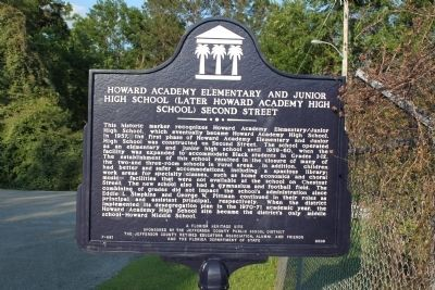 Howard Academy Elementary and Junior High School (Later Howard Academy High School) Second Street Marker image. Click for full size.