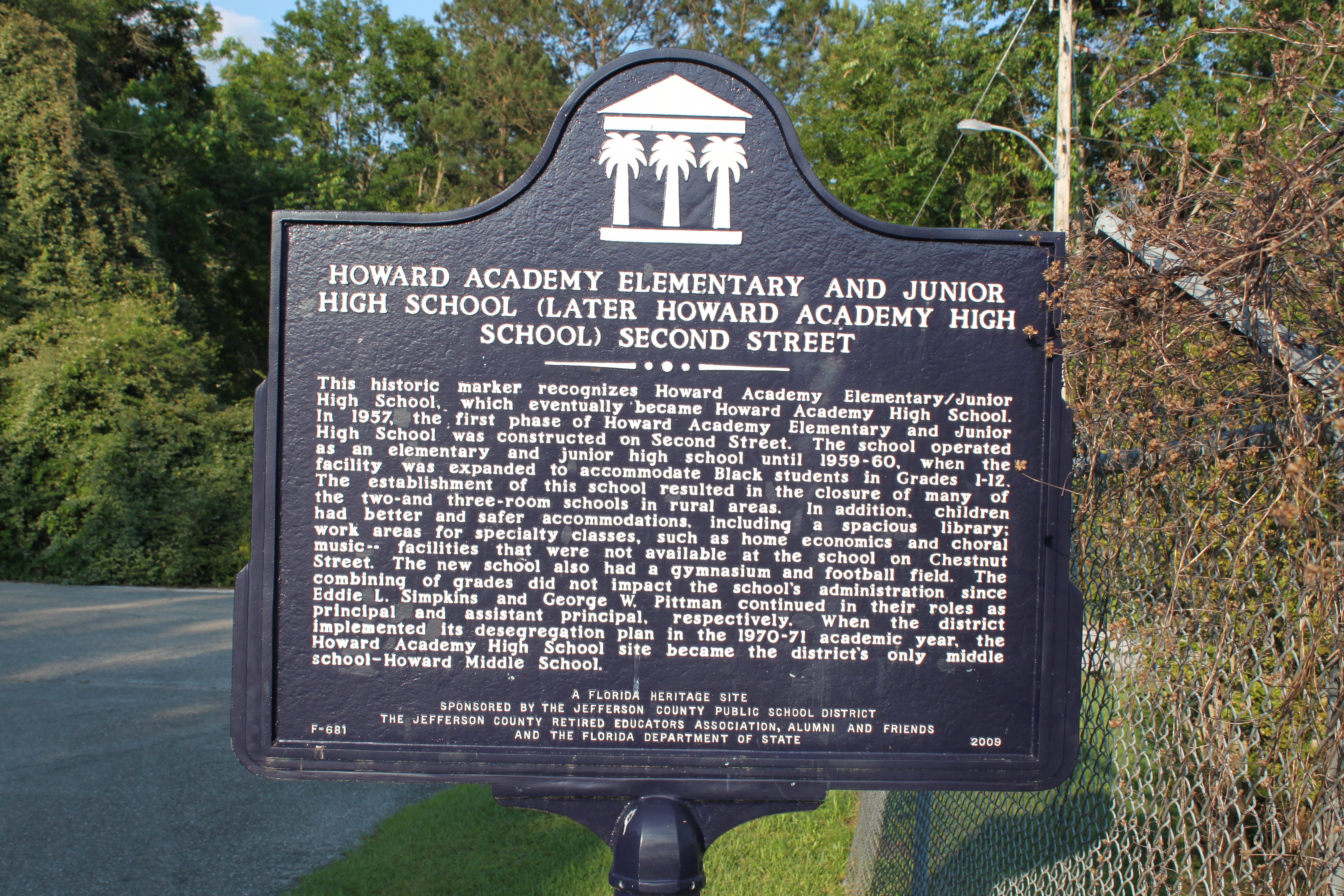 Howard Academy Elementary and Junior High School (Later Howard Academy High School) Second Street Marker