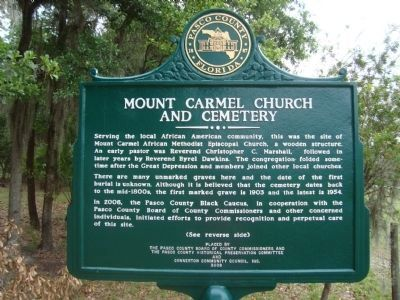 Mount Carmel Church And Cemetery Marker image. Click for full size.