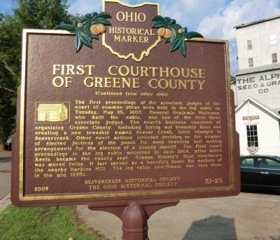 First Courthouse of Greene County Marker image. Click for full size.